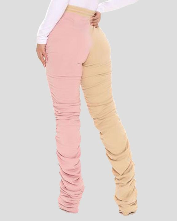 Two-Tone Drawstring Ruched High Waist Pants gallery 8
