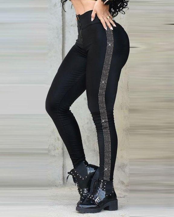 Zip Up Rhinestone Stripe Design High Waist Pants gallery 1