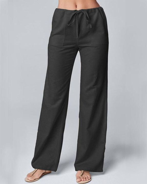 Solid Drawstring Slant Pocket Wide Leg Pants gallery 2
