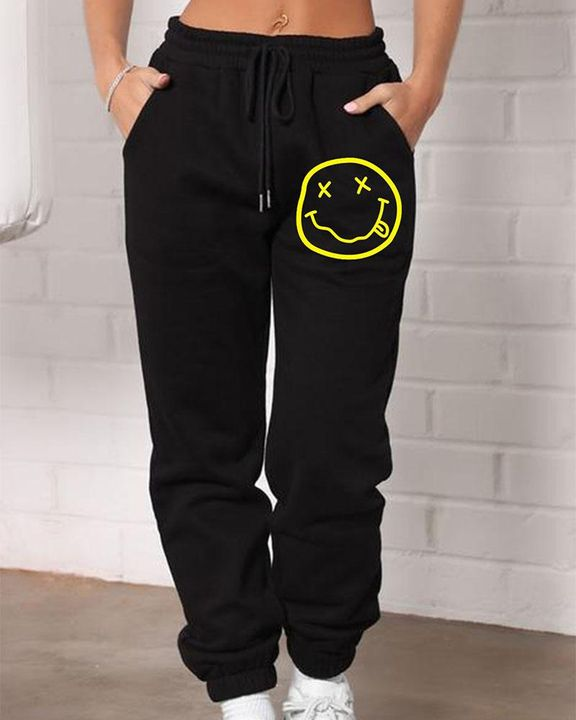 Smiley Face Print Drawstring High Waist Joggers gallery 1