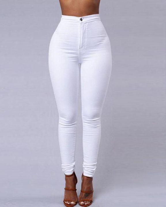 Solid Patch Pocket High Waist Zip Fly Skinny Pants gallery 1