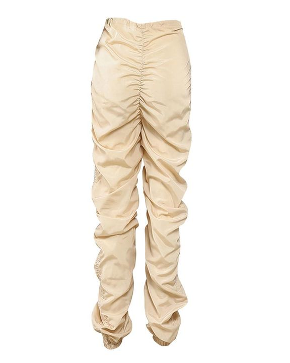 Solid Drawstring Ruched Low Waist Joggers gallery 5