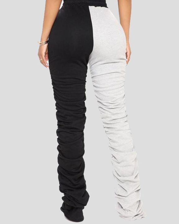 Two-Tone Drawstring Ruched High Waist Pants gallery 6