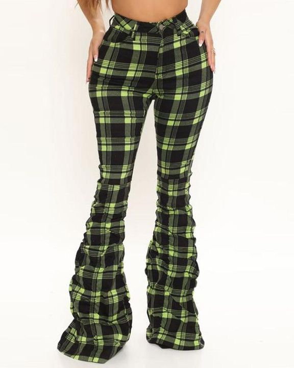 Plaid Print Stacked Wide Leg Pants gallery 2