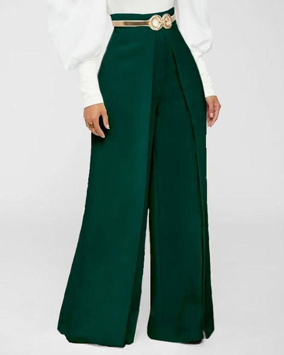Solid Zip Up Back Pleated Wide Leg Pants gallery 1