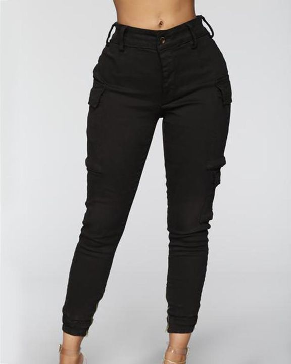 Solid Flap Pocket Side Mid Waist Joggers gallery 2