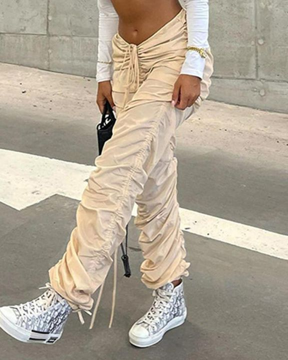 Solid Drawstring Ruched Low Waist Joggers gallery 3