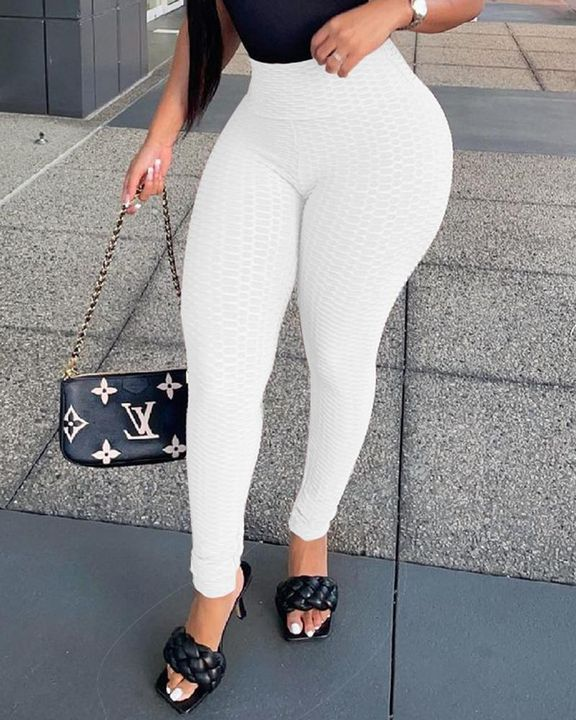 Solid Textured High Waist Skinny Pants gallery 1