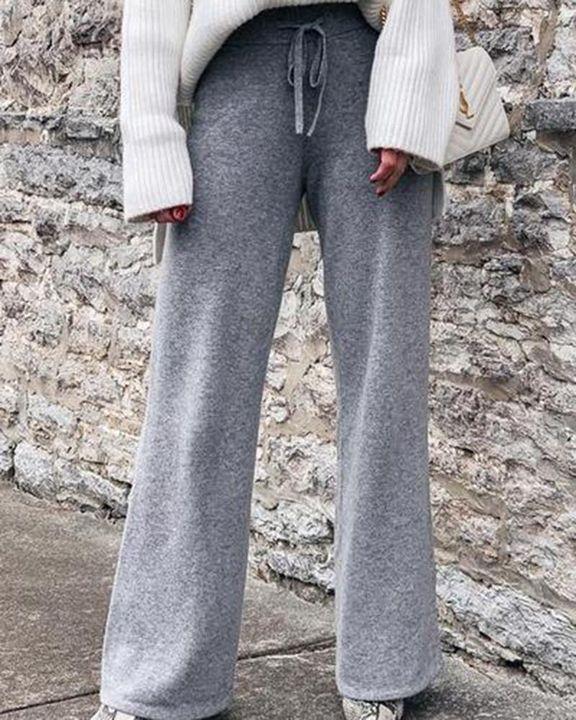 Solid Drawstring High Waist Wide Leg Pants gallery 1