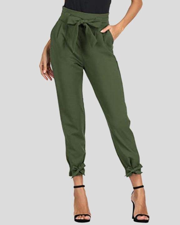 Solid Bow Decor Tie Hem Crop Pants gallery 4
