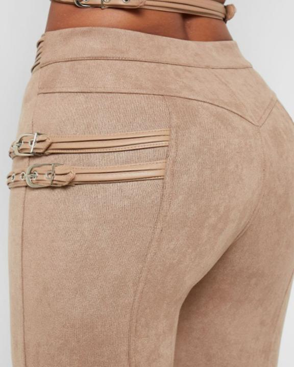High Waist Half Zip Buckle Decor Skinny Pants gallery 8