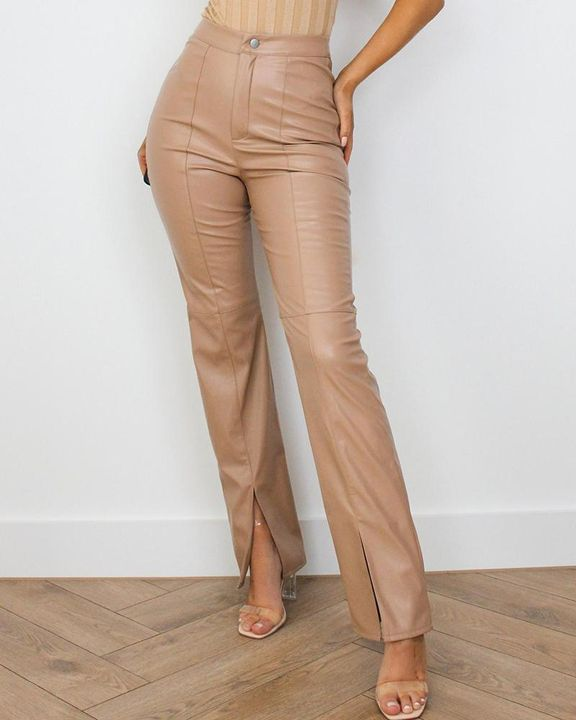 High Waist Split Hem PU Pants gallery 2