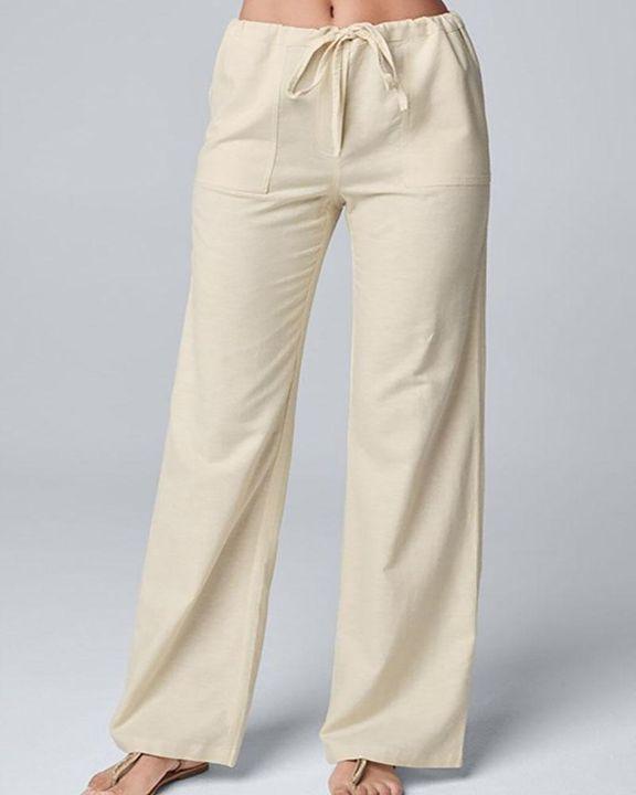 Solid Drawstring Slant Pocket Wide Leg Pants gallery 1