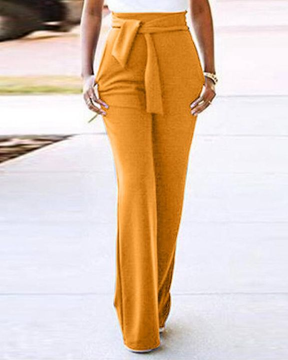 Solid Belted Slant Pocket Flare Leg Pants gallery 7