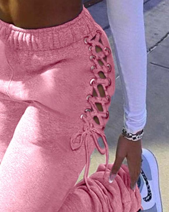 Eyelet Lace Up Side Stacked Pants gallery 12