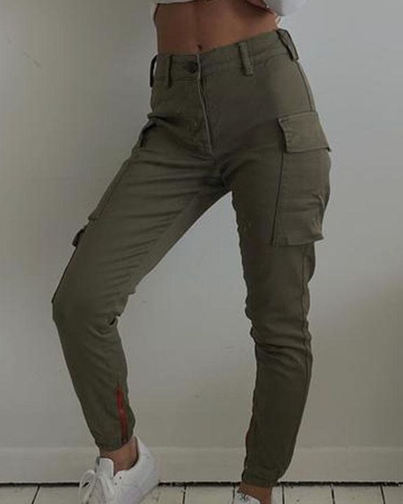 Solid Flap Pocket Side Mid Waist Joggers gallery 6