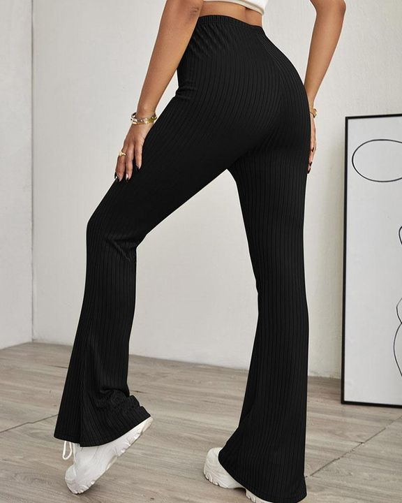 Solid Ribbed High Waist Wide Leg Pants gallery 5