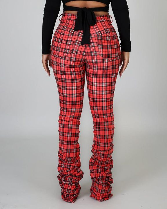 Plaid Print High Waist Stacked Pants gallery 6
