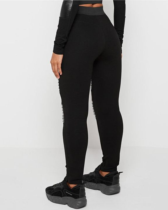 Ribbed PU Half Zip High Waist Skinny Pants gallery 4