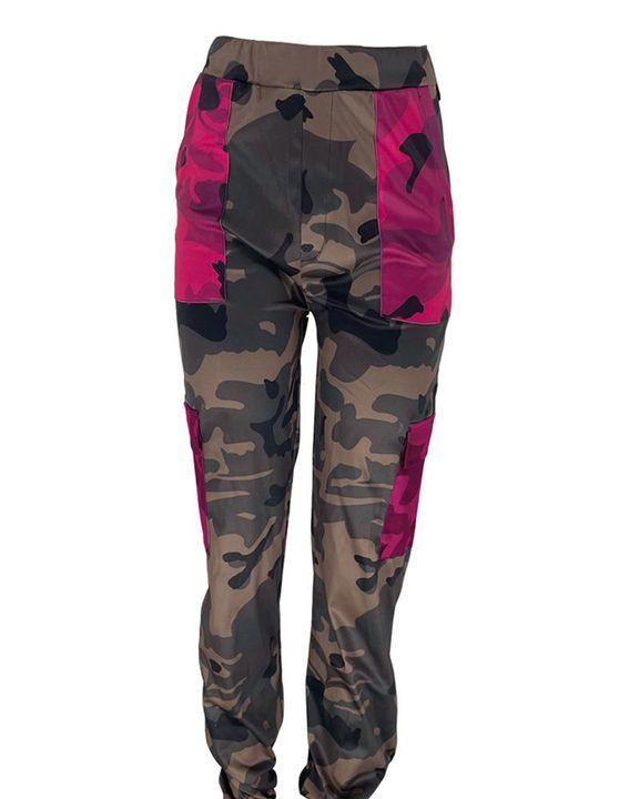 Camo Print Colorblock Pocket Detail Pants  gallery 2