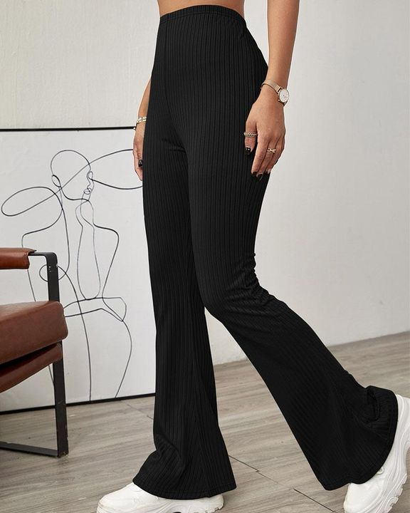 Solid Ribbed High Waist Wide Leg Pants gallery 1