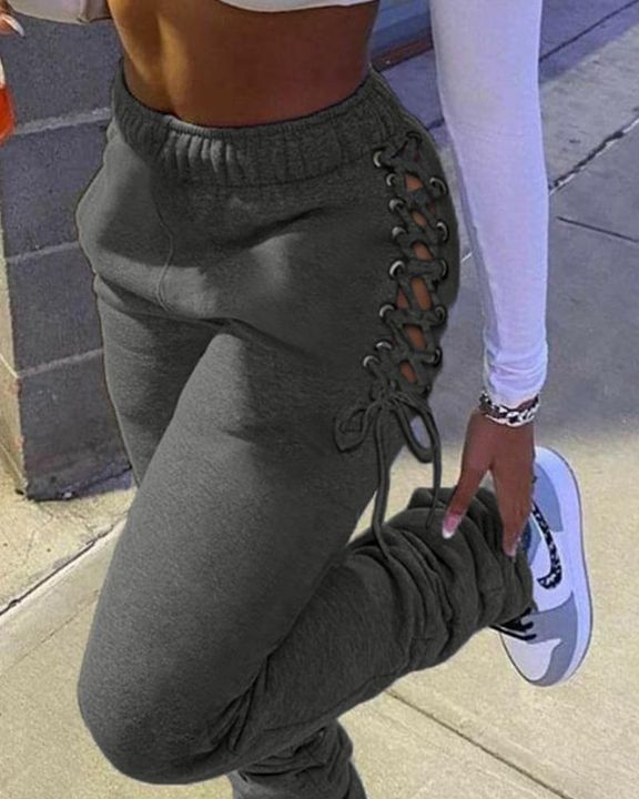 Eyelet Lace Up Side Stacked Pants gallery 3
