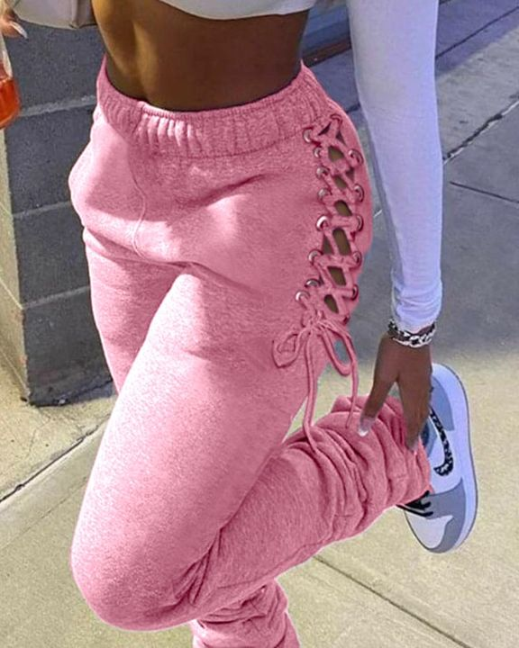 Eyelet Lace Up Side Stacked Pants gallery 4