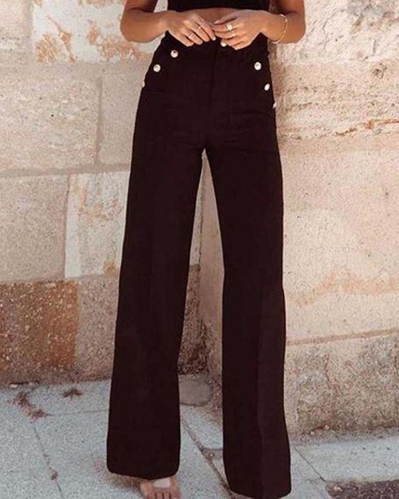 Solid Studded Button High Waist Wide Leg Pants gallery 4