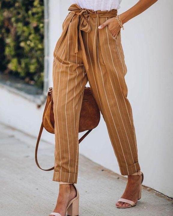 Stripe Belt Tie Paperbag Waist Straight Leg Pants gallery 3