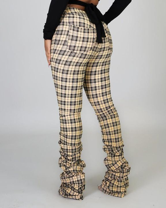 Plaid Print High Waist Stacked Pants gallery 5