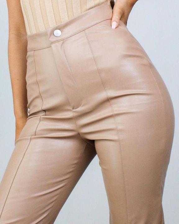 High Waist Split Hem PU Pants gallery 4