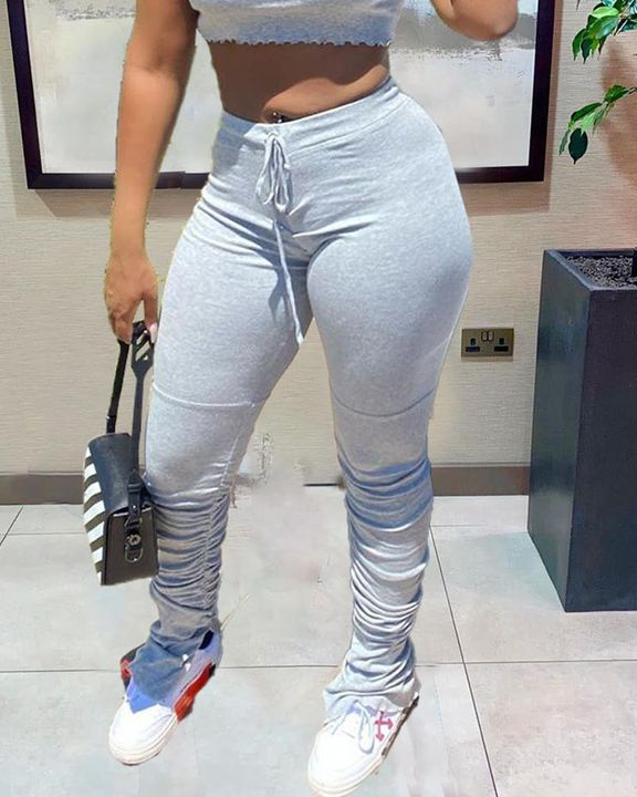 Solid Drawstring Front Stacked Pants gallery 4