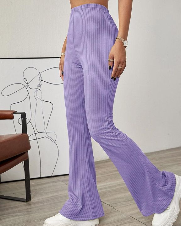 Solid Ribbed High Waist Wide Leg Pants gallery 2
