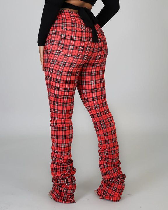 Plaid Print High Waist Stacked Pants gallery 7