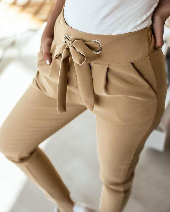 Solid Eyelet Blet Tie Crop Pants gallery 4
