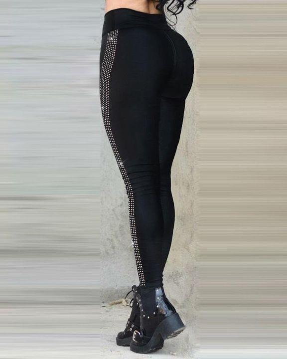Zip Up Rhinestone Stripe Design High Waist Pants gallery 2