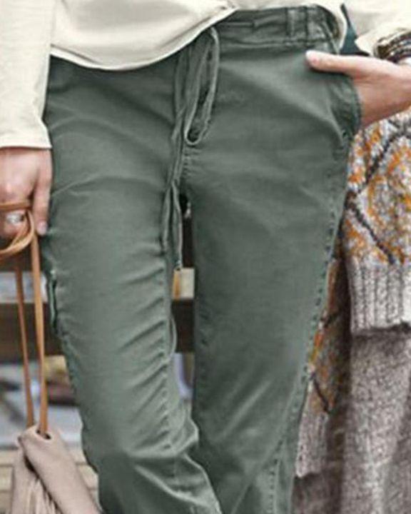 Drawstring Slant Pocket Mid Waist Pants gallery 2