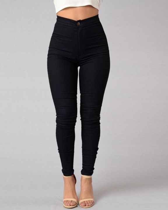 Solid Patch Pocket High Waist Zip Fly Skinny Pants gallery 2