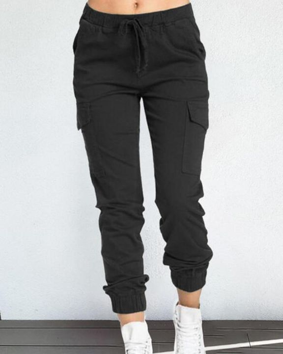 Solid Drawstring Flap Pocket Side Joggers gallery 2