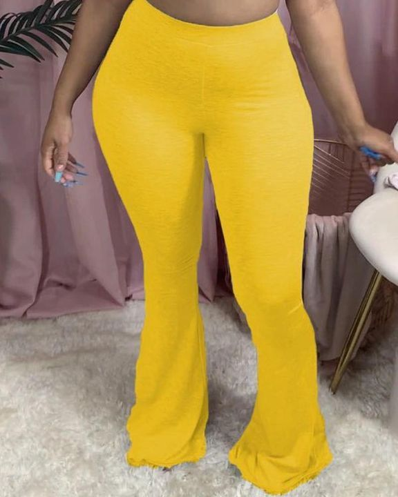 Solid Butt Lifting Flare Leg Pants gallery 1