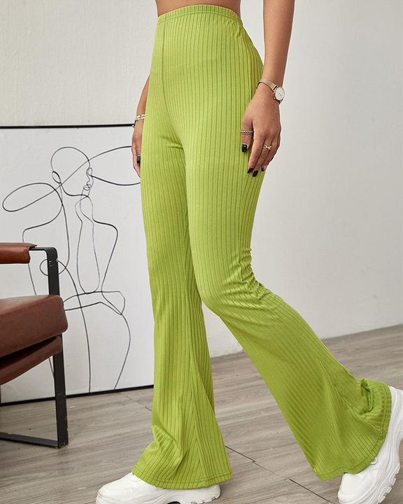 Solid Ribbed High Waist Wide Leg Pants gallery 3