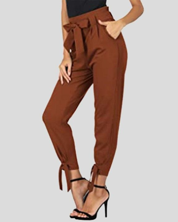 Solid Bow Decor Tie Hem Crop Pants gallery 3