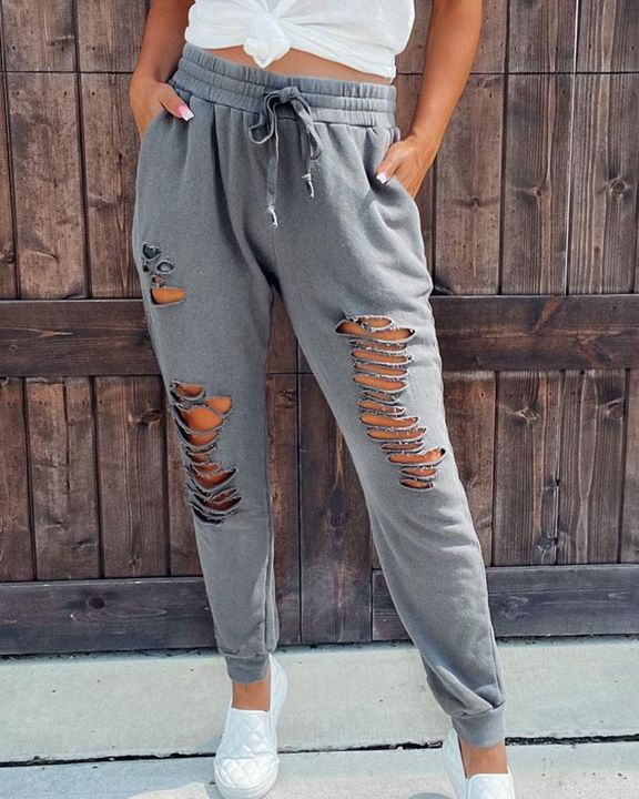 Ripped Hollow Out Drawstring Joggers gallery 1