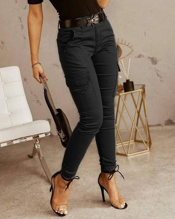 Solid Pocket Detail Skinny Pants Without Belt gallery 2