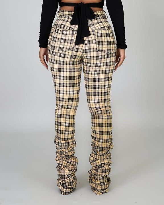 Plaid Print High Waist Stacked Pants gallery 4