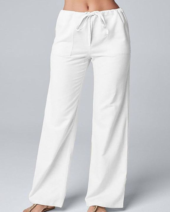 Solid Drawstring Slant Pocket Wide Leg Pants gallery 4