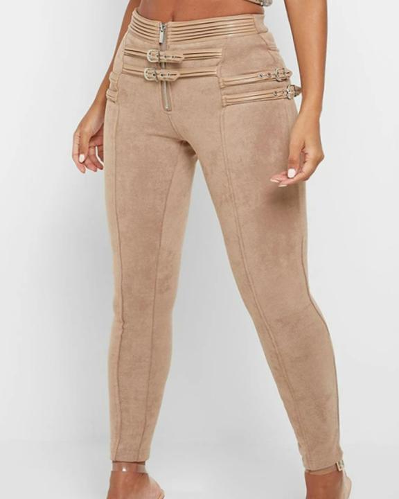 High Waist Half Zip Buckle Decor Skinny Pants gallery 2