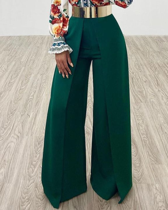 Solid Zip Up Back Pleated Wide Leg Pants gallery 4