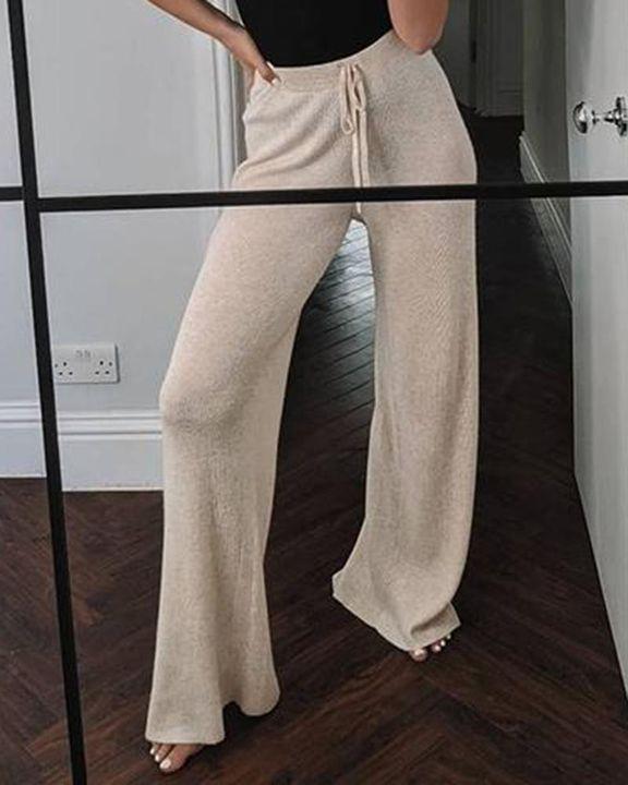 Solid Drawstring High Waist Wide Leg Pants gallery 6