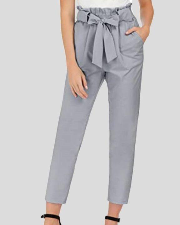 High Waist Belt Tie Paperbag Waist Crop Pants gallery 4